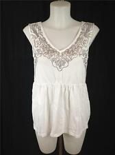 FAMOUS CATALOG COTTON BLEND SEQUENS EMBELLISHED TEE TANK TOP WHITE SZ XS, M, L