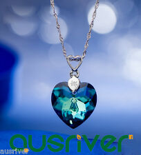 Custom Made Personalized Heart of Ocean Crystal Necklace w/ Swarovski Elements