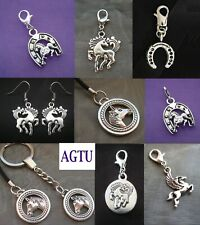 YOU PICK CHARM Clip On Silver Horse Horseshoe Pony Charm or Earrings Gift
