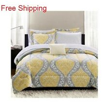 Yellow Comforter Set Bed In A Bag Bedding With Sheets Floral Gray Cushion TFQK