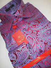 Mens Interlaced Paisley Bold Red & Periwinkle Leonardi Cuffed Shirt Edition 313