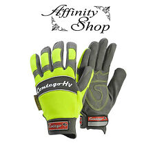 Contego Hi Vis Work Gloves HV Synthetic Leather Mechanics Hand Protection NEW!