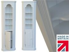 White Painted Corner Bookcase Unit, 6ft Tall Thin Storage Corner Display Cabinet