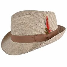 Mens Ladies Natural Packable Straw Summer Trilby  Hat With Band and  Feather New
