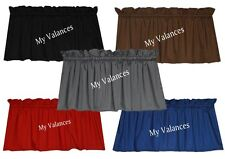 Basic Solid Color window curtain valance Black Red Brown Gray Royal Blue Topper