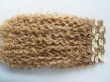 sufaya hair extension clip in human curly weft virgin weave blonde color 613 #27