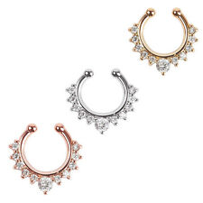 1PC Fashion Fake Septum Clicker Nose Ring Non Piercing Hanger Clip On Jewelry DO