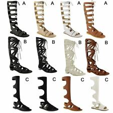 WOMENS LADIES KNEE HIGH GLADIATOR LACE UP CUT OUT FLAT SANDALS SUMMER SHOES SIZE