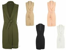 Womens Ladies BELTED long line duster coat sleeveless waistcoat smart blazer top