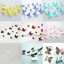 12Pc Colorful Vinyl Wall Art Stickers 3D Butterflies Wall Decals Kids Home Decor