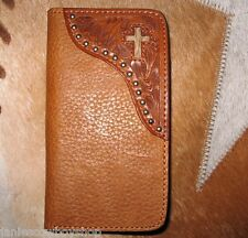 LEATHER WESTERN CELL PHONE CASE IPHONE 5/5C CROSS TOOLED-WALLET COMBO CHRISTIAN