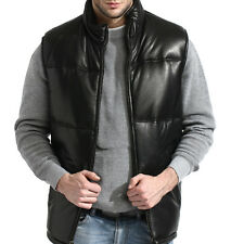 mens black leather bubble vest, lambskin, padded, zip front, quilted