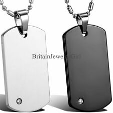 High Polished Tungsten Carbide Men's Army Dog Tag Pendant Chain Necklace 22""