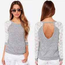 Fashion Women Lace Long Sleeve Tops Sexy Backless T-Shirt Casual Blouse Tee Top