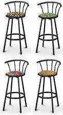 "FC37 COUNTER HEIGHT 24"" TALL BLACK METAL FINISH BAR STOOLS SWIVEL SEAT CUSHION"