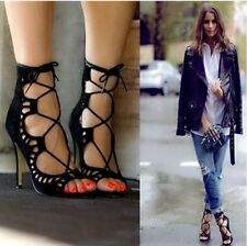 Sexy Womens Strappy Lace Up Open Toe Gladiator Sandals Stilettos High Heel Shoes