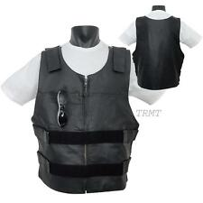 Mens Bullet Proof Style Real Premium Leather Motorcycle VEST jacket~XS-5XL