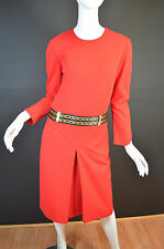 CLASS ROBERTO CAVALLI Red Vestito Jersey Dress w/Gold Chain Print Band at Waist