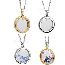 Stainless steel Living Memory Floating Photo Locket Round Charm Pendant Necklace