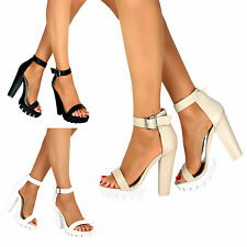 Ladies Chunky High Heel Summer Sandal Cleated Sole Platform Ankle Strap Size 3-8