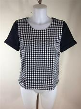 FAMOUS CATALOG PONTE KNIT PLAID SHORT SLEEVE TEE TOP BLOUSE SZ S, M, L