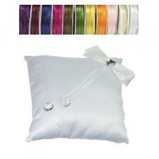 White Wedding Ring Cushion Pillow with Crystals & Heart - Ribbon Colour Choice