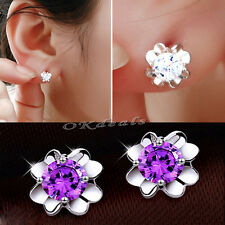 Fashion Jewelry Women 925 Silver Plated Four Leaf Clover Crystal Stud Earrings