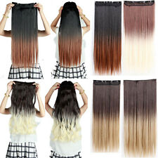 3/4 Full Head dip dye ombre clip in hair extension one piece straight curly wavy