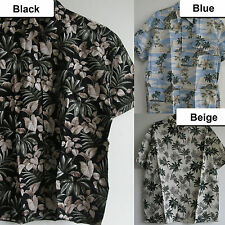 New Tropical Palm Islands Leaf Hawaiian Aloha resort cotton Shirts Short sleeve