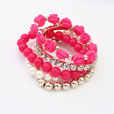 New Rose Flower Round Faux Pearl Crystal Rhinestone Multi-layer Elastic Bracelet