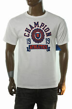 NEW MENS CHAMPION AUTHENTIC CREW NECK WHITE GRAPHIC T SHIRT
