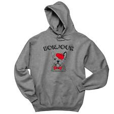 Bonjour With French Bulldog Sketch Mens Hoodie Frenchie Dogs Soft Comfy Top