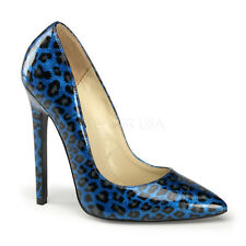 "PLEASER SEXY-20 Pearlized Blue Glitter Leopard Cheetah 5"" Heels Pumps SIZE 9"