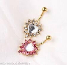 1 PIECE 14g IP Gold Clear OR Pink CZ Gem Heart Naval Belly Ring