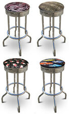 "FC27 NEW THEMED 29"" TALL CHROME METAL FINISH BAR STOOLS SWIVEL SEAT CUSHION"