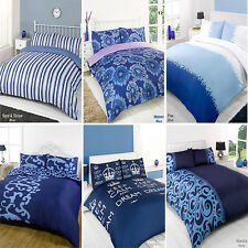 Duvet Quilt Cover Bedding Set Navy Single Double King Kingsize Super King