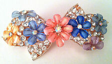 Bow and floral design Hair Accessory Barrette in Rhinestones and Faux Crystal