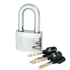 "FJM Security SPRM60 2"" High Security Long Shackle Chrome Heavy Duty Padlock"