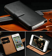 Leather Flip Case Wallet Cover For Apple iPhone 4 4S 5 5S Free Screen Protector