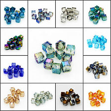 10PCS DIY Wedding Home Faceted Square Cube Cut Glass Crystal Loose Spacer Beads