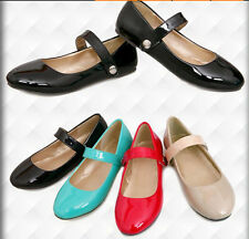 Cute Womens Flats Round Toe Loafer Velcro Ankle Strap Ballet Girls Shoes Plus SZ