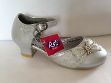 GIRLS KIDS SPARKLY SILVER PARTY BRIDESMAID FLOWER GIRL WEDDING DRESS SHOES 8 - 3