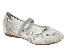 GIRLS SILVER MESH SEQUIN FLAT BALLET DOLLY PUMPS EVENING PARTY SHOES UK SIZE 8-2