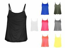 New Womens Plain Swing Strappy Cami Tank Top Ladies Vest Sleeveless Lot Top 8-14