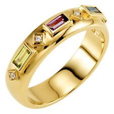 10K or 14K Solid Gold Baguette Birthstones Ring Mother, Family Ring 2-5 Stones