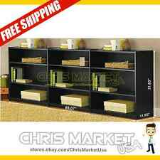 3-Shelf Bookcase SET OF 3 Adjustable Shelves Furniture Bookshelf Wood Storage