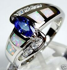 Tanzanite & White Fire Opal Inlay 925 Sterling Silver Solitaire Ring Size 7-8