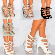 WOMENS LACE UPS STILETTOS PEEP TOES PLATFORMS STRAPPY SANDALS HIGH HEELS SHOES