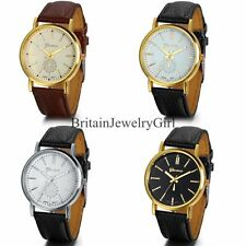 New Fashion Mens Watch Quartz Wrist Watch Round Dial Leather Band Watch Gift