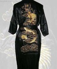 Black Embroidery Dragon Satin Chinese silk Men's Kimono Robe Gown bathrobe